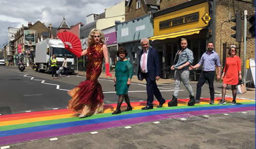 Rainbow zebra crossing in Wimbledon